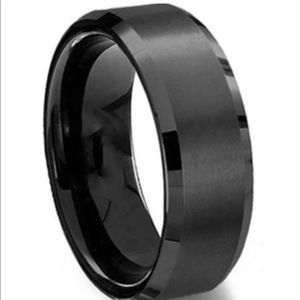 Brand new black stainless steel ring size 9